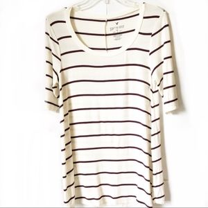 Old Navy Creme & Burgundy Striped Shirt